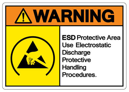 Warning ESD Protective Area Use Electrostatic Discharge Protective Handling Handling Procedures Symbol Sign, Vector Illustration, Isolated On White Background Label .EPS10