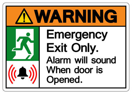 Warning Emergency Exit Only Alarm will sound when door is opened Symbol Sign, Vector Illustration, Isolate On White Background Label. EPS10