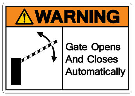 Warning Gate Opens and Closes Automatically Symbol Sign, Vector Illustration, Isolate On White Background Label. Ilustrace