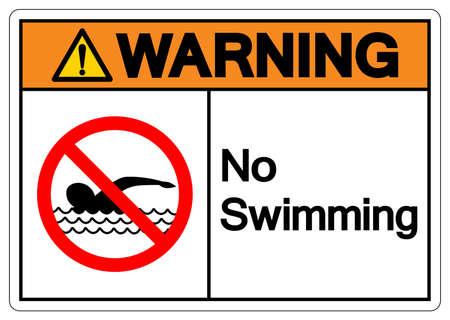 Warning No Swimming Symbol Sign, Vector Illustration, Isolate On White Background Label. EPS10