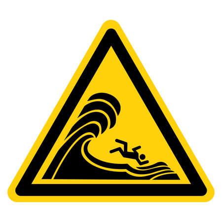 Warning High Surf Symbol Sign, Vector Illustration, Isolate On White Background Label. EPS10