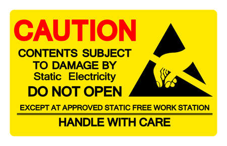Caution Contents Subject To Damage By Static Electricity Symbol Sign, Vector Illustration, Isolated On White Background Label .EPS10