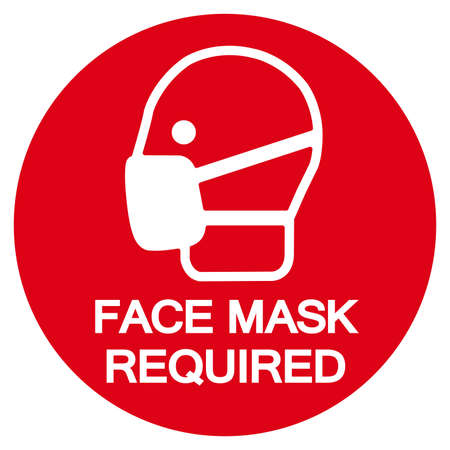 Face Mask Required Symbol Sign,Vector Illustration, Isolated On White Background Label. EPS10