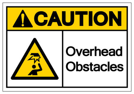 Caution Overhead Obstacles Symbol ,Vector Illustration, Isolate On White Background Label. EPS10