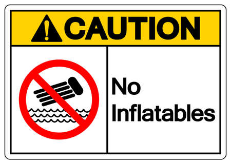 Caution No Inflatables Symbol Sign, Vector Illustration, Isolate On White Background Label. EPS10
