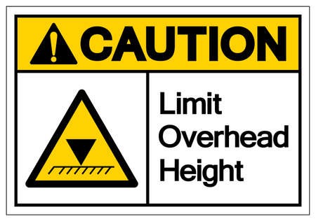 Caution Limit Overhead Height Symbol Sign, Vector Illustration, Isolated On White Background Label. EPS10