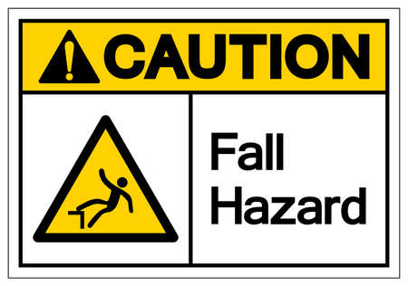 Caution Fall Hazard Symbol, Vector Illustration, Isolate On White Background Label. EPS10