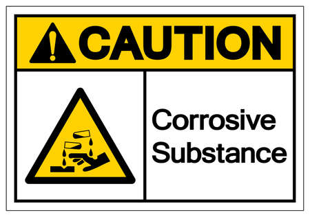 Caution Corrosive Substance Symbol ,Vector Illustration, Isolate On White Background Label. EPS10 Ilustração