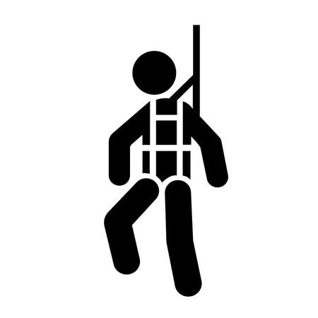 Safety Harness Black Icon,Vector Illustration, Isolate On White Background Label. EPS10 Vettoriali