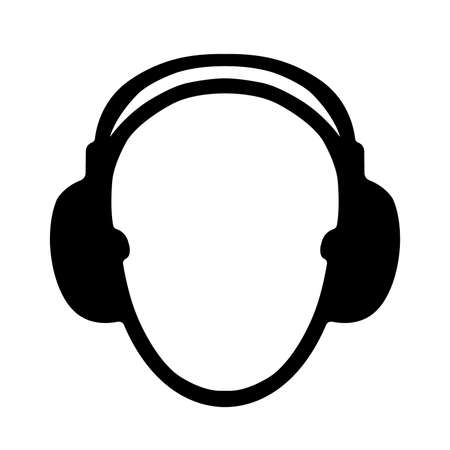 Earmuff Black Icon,Vector Illustration, Isolated On White Background Label. EPS10