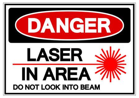 Danger Laser In Area Do Not Look Into Beam Symbol Sign, Vector Illustration, Isolate On White Background Label. EPS10