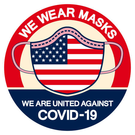 We Wear masks we are united against Covid-19 Symbol Sign, Vector Illustration, Isolate On White Background Label. EPS10 Vettoriali