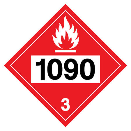 Class 3 Acetone UN1090 Symbol Sign, Vector Illustration, Isolate On White Background, Label .EPS10