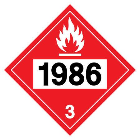 Class 3 Denatured Alcohol UN1986 Symbol Sign, Vector Illustration, Isolate On White Background, Label .EPS10 Vettoriali