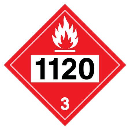 Class 3 Butanols UN1120 Symbol Sign, Vector Illustration, Isolate On White Background, Label .EPS10