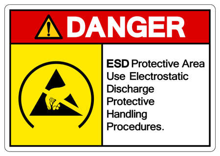 Danger ESD Protective Area Use Electrostatic Discharge Protective Handling Procedures Symbol Sign, Vector Illustration, Isolated On White Background Label .EPS10