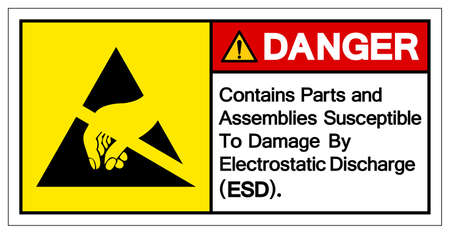 Danger Contains Parts and Assemblies SusceptibleTo Damage By Electrostatic Discharge (ESD). Symbol Sign, Vector Illustration, Isolated On White Background Label .EPS10 Vettoriali