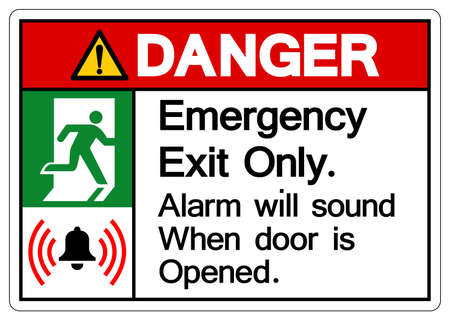 Danger Emergency Exit Only Alarm will sound when door is opened Symbol Sign, Vector Illustration, Isolate On White Background Label. EPS10