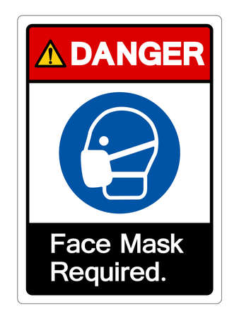 Danger Face Mask Required Symbol Sign,Vector Illustration, Isolated On White Background Label. EPS10