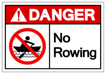 Danger No Rowing Symbol Sign, Vector Illustration, Isolate On White Background Label. EPS10