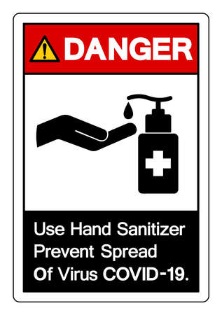 Danger Use Hand Sanitizer Prevent Spread Of Virus COVID-19 Symbol Sign ,Vector Illustration, Isolate On White Background Label. EPS10