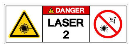 Danger Laser 2 Symbol Sign ,Vector Illustration, Isolate On White Background Label. EPS10 Vettoriali