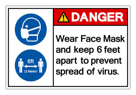 Danger Wear Face Mask and keep 6 feet apart to prevent spread of virus Symbol Sign, Vector Illustration, Isolate On White Background Label. EPS10 Vettoriali