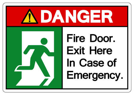Danger Fire Door Exit Here In Case Of Emergency Symbol Sign, Vector Illustration, Isolate On White Background Label. EPS10