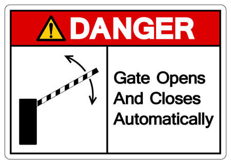 Danger Gate Opens and Closes Automatically Symbol Sign, Vector Illustration, Isolate On White Background Label. EPS10