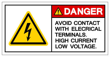 Danger Avoid Contact With Electrical Terminals High Current Low Voltage Symbol Sign ,Vector Illustration, Isolate On White Background Label. EPS10