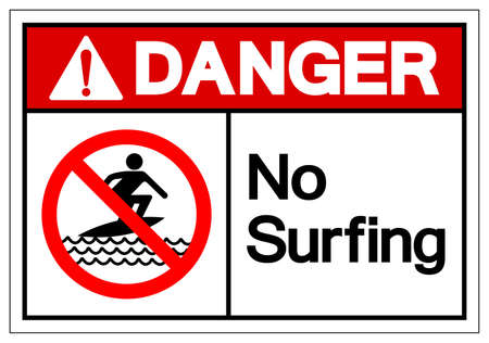 Danger No Surfing Symbol Sign, Vector Illustration, Isolate On White Background Label. EPS10