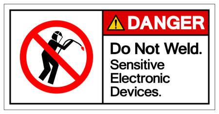 Danger Do Not Weld Sensitive Electronic Devices Symbol Sign, Vector Illustration, Isolate On White Background Label .EPS10