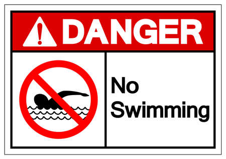 Danger No Swimming Symbol Sign, Vector Illustration, Isolate On White Background Label. EPS10 Vettoriali