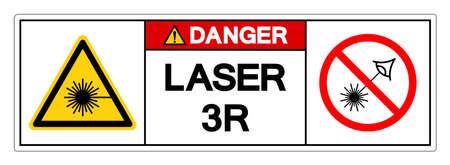 Danger Laser 3R Symbol Sign ,Vector Illustration, Isolate On White Background Label. EPS10 Vettoriali