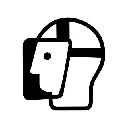 Face Shield Black Icon,Vector Illustration, Isolated On White Background Label. EPS10