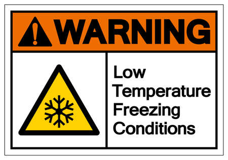 Warning Low Temperature Freezing Conditions Symbol, Vector Illustration, Isolated On White Background Label.
