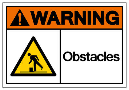 Warning Obstacles Symbol, Vector Illustration, Isolate White Background Label.