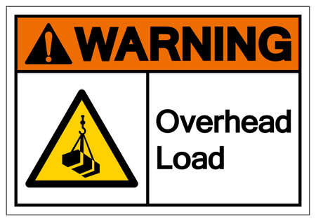 Warning Overhead Load Symbol, Vector Illustration, Isolated On White Background Label.