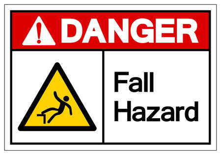 Danger Fall Hazard Symbol, Vector Illustration, Isolate On White Background Label.