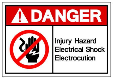 Danger Injury Hazard Electrical Shock Electrocution Symbol Sign, Vector Illustration, Isolate On White Background Label . Vettoriali