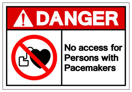Danger No Access For Persons  Pacemakers Symbol Sign, Vector Illustration, Isolate On White Background Label .