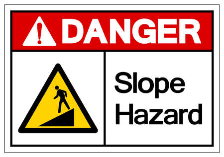 Danger Slope Hazard Symbol Sign,Vector Illustration, Isolate On White Background Label.