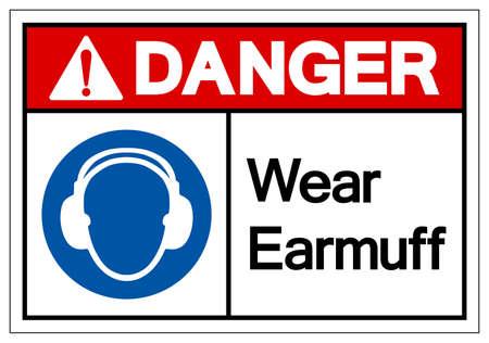 Danger Wear Earmuff Symbol Sign,Vector Illustration, Isolated On White Background Label.