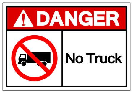 Danger No Truck Symbol Sign, Vector Illustration, Isolate On White Background Label . Vettoriali