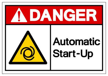 Danger Automatic Start-Up Symbol ,Vector Illustration, Isolate On White Background Label.