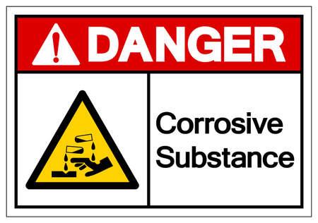 Danger Corrosive Substance Symbol ,Vector Illustration, Isolate On White Background Label.