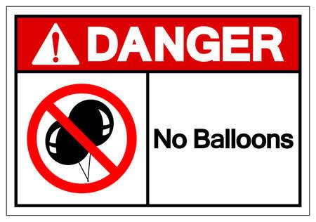 Danger No Balloons Symbol Sign, Vector Illustration, Isolate On White Background Label .