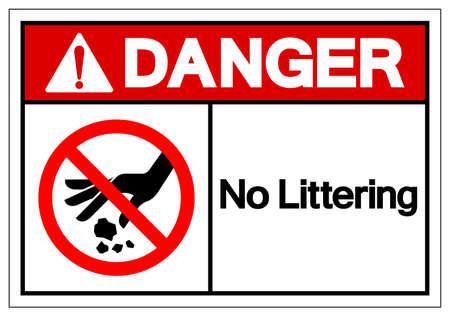 Danger No Littering Symbol Sign, Vector Illustration, Isolate On White Background Label . Vettoriali