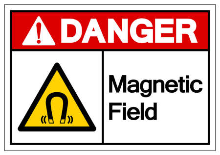 Danger Magnetic Field Symbol Sign, Vector Illustration, Isolate On White Background Label .