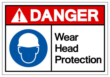 Danger Wear Head Protection Symbol Sign,Vector Illustration, Isolated On White Background Label.